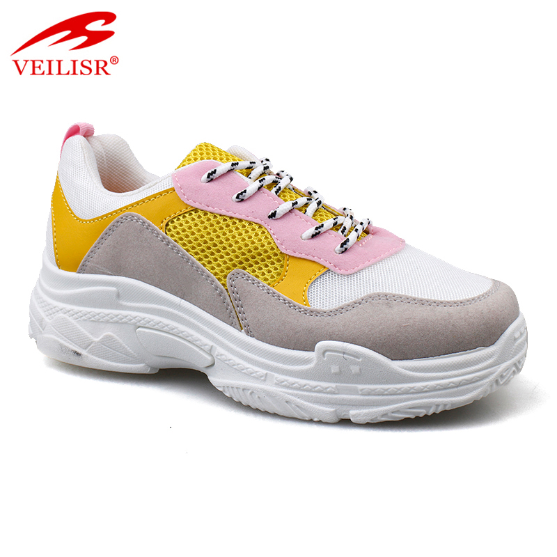 Wholesale fashion PU mesh casual sport shoes women chunky sneakers