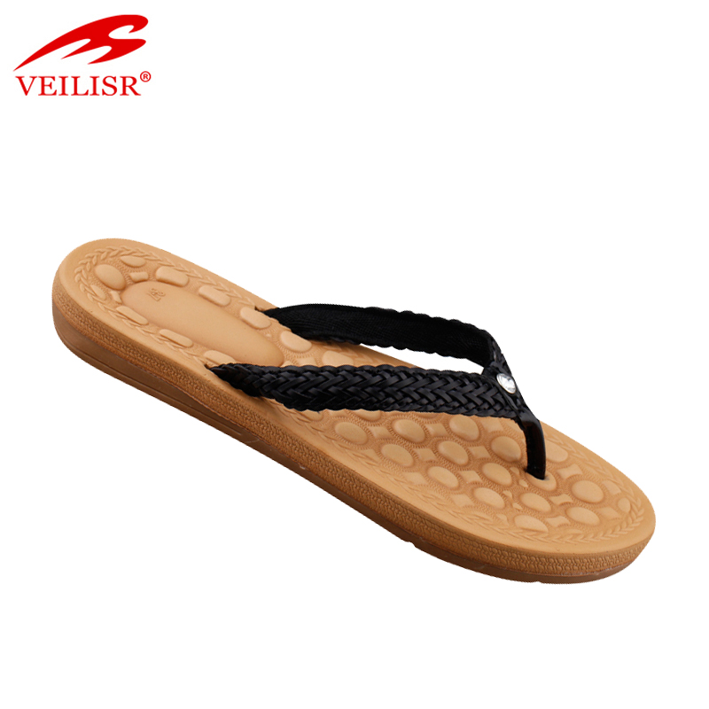 New design fancy footwear ladies woven strap flip flops