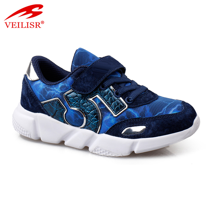 Outdoor suede mesh upper children school sneakers kids casual shoes