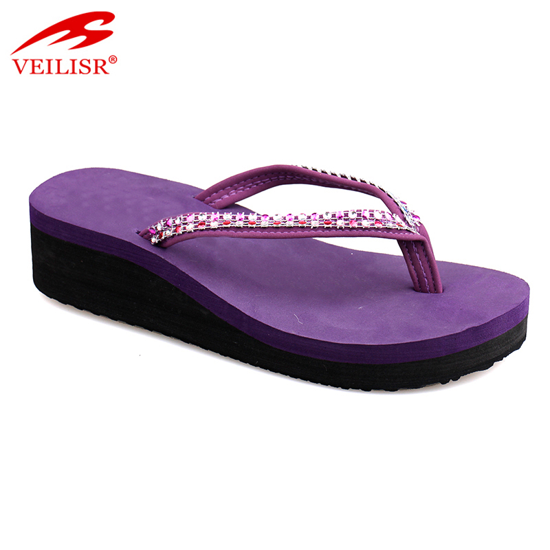 Fancy ladies footwear high heel wedge wedding flip flops