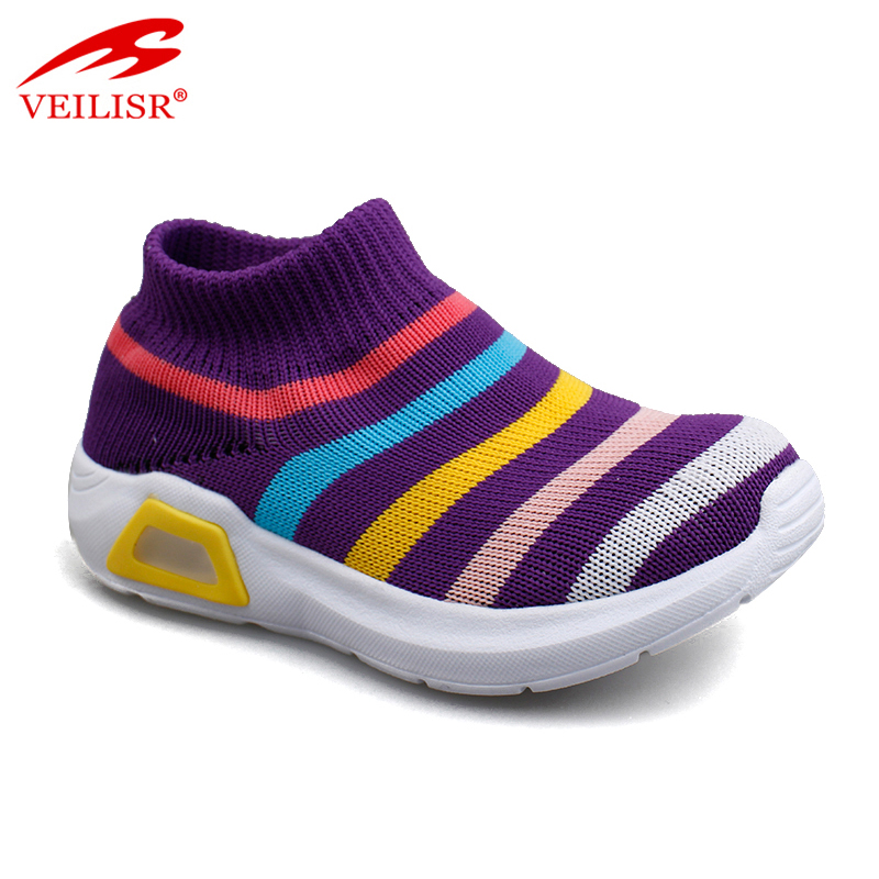 Outdoor knit fabric children casual sock sneakers LED light shoes