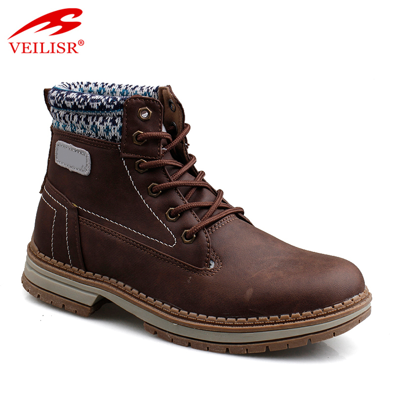 Outdoor faux leather upper fashion mid top footwear winter men boots