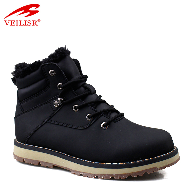 Outdoor faux leather fashion mid top footwear fur winter men boots