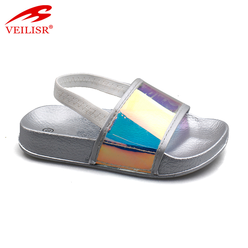 Outdoor elastic strap PU upper children slippers kids slide sandals