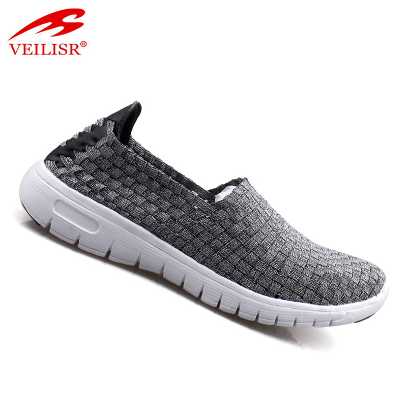 New design fashion slip on footwear men casual sport woven shoes