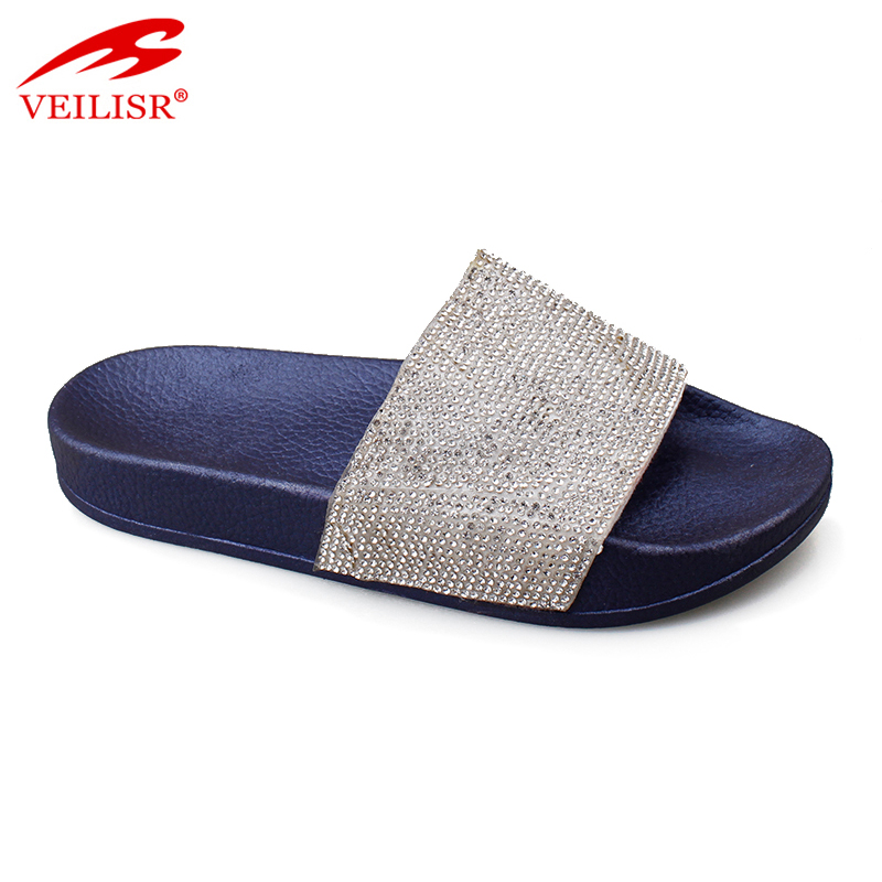 Chancletas summer ladies PU diamond slide sandals women slippers