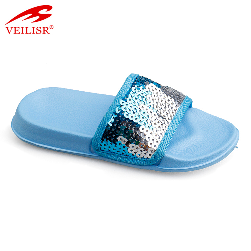 2020 China Factory Wholesale Sequined Cloth upper EVA sole outdoor kids slippers children slide sandals Featured Image