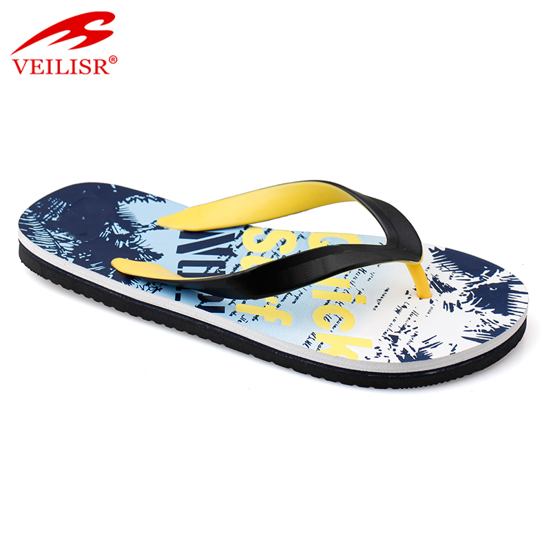 Customize printed sole footwear summer beach men flip flops