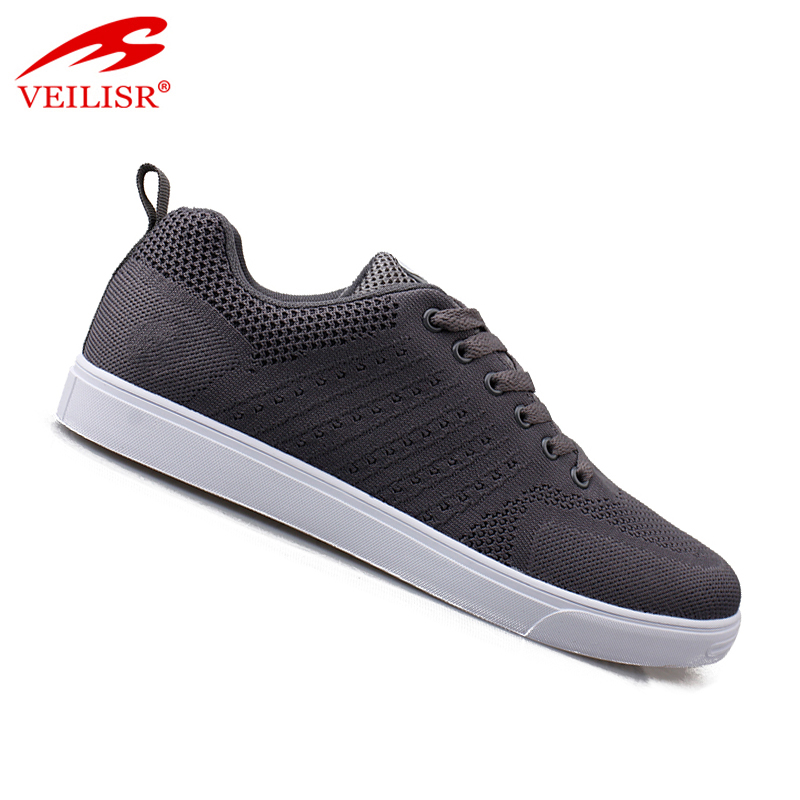 China Wholesale factory low price comfortable Outdoor fashion knit fabric upper sneakers flat men casual shoes