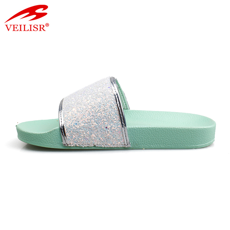 Outdoor summer glitter PU upper children slide sandals kids slippers