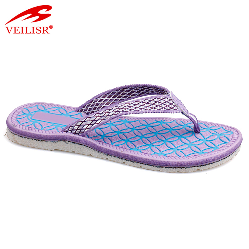 New design ladies fabric strap footwear fancy women flat flip flops