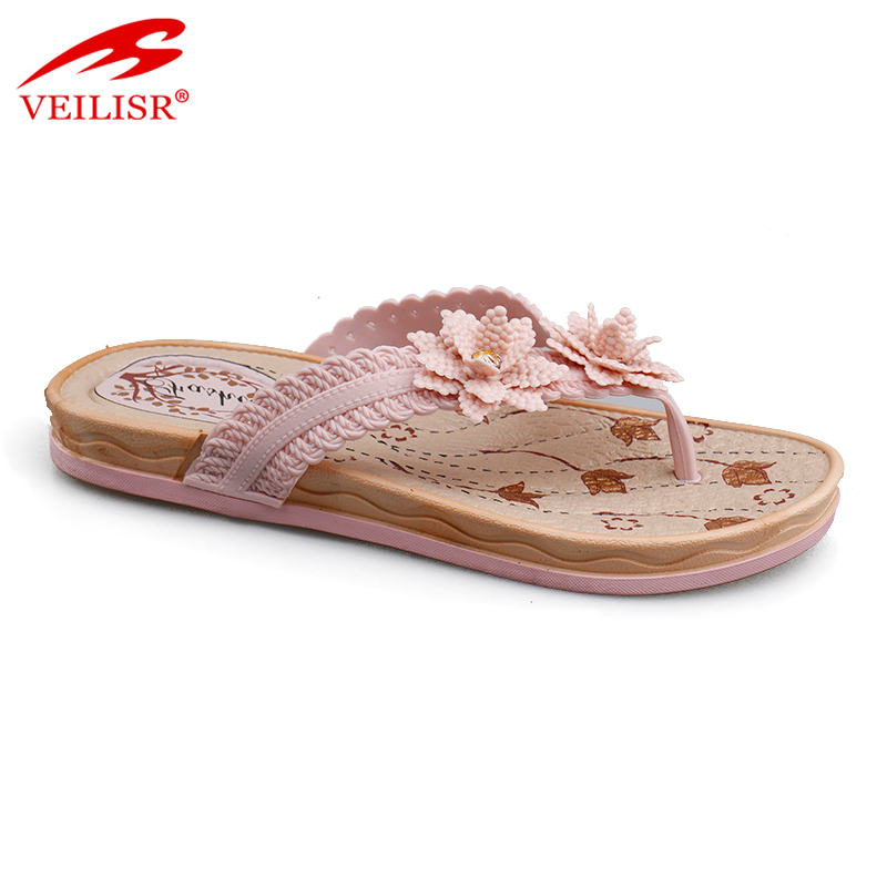 New flower design outdoor children PVC slippers kids flip flops