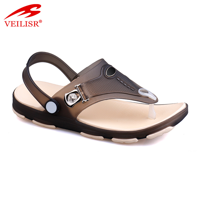New design thong jelly shoes clear PVC footwear men beach sandals