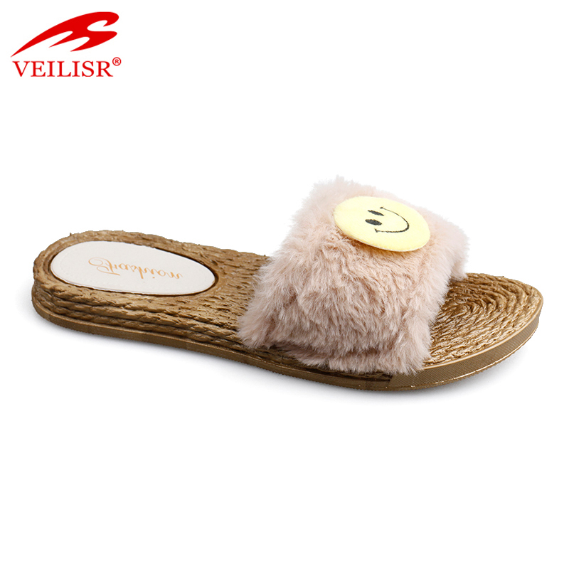New style ladies PVC slide sandals with fur indoor women slippers