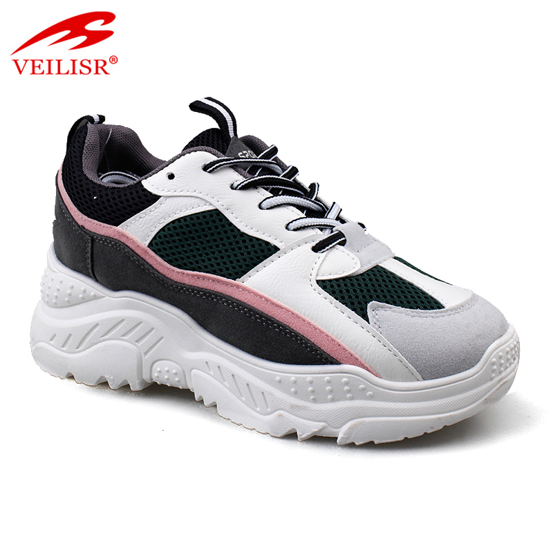 New fashion suede mesh upper casual sport shoes women chunky sneakers