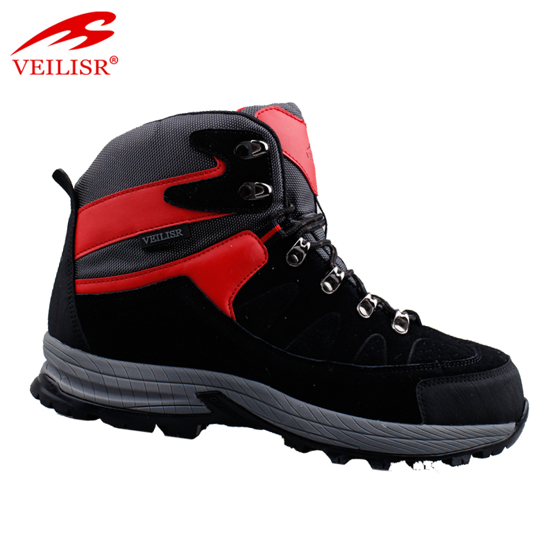Cheap genuine leather trekking shoes trendy men hiking boots
