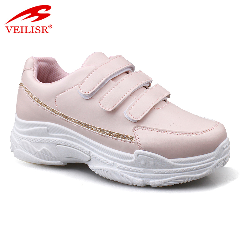 Anti Slippery Newest Comfortable Promotional Hook loop design PU upper women chunky sneakers casual sport shoes
