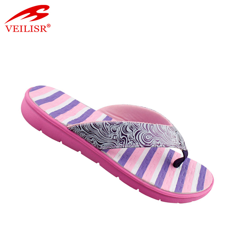 Stylish Newest design Protective Low price New printed pu upper footwear fancy ladies slippers women beach flip flops