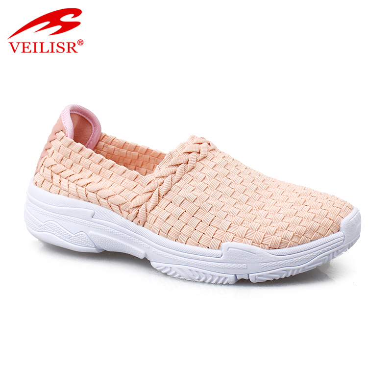 Zapatos mujer ladies slip on footwear women woven casual shoes