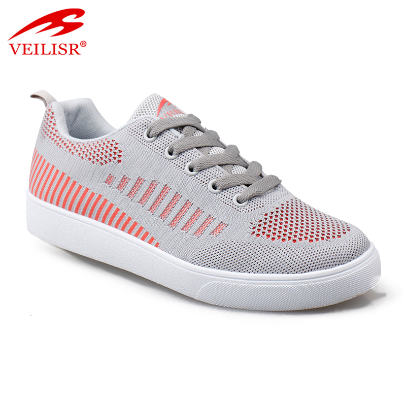 Outdoor knit fabric upper fashion sneakers women flat casual shoes