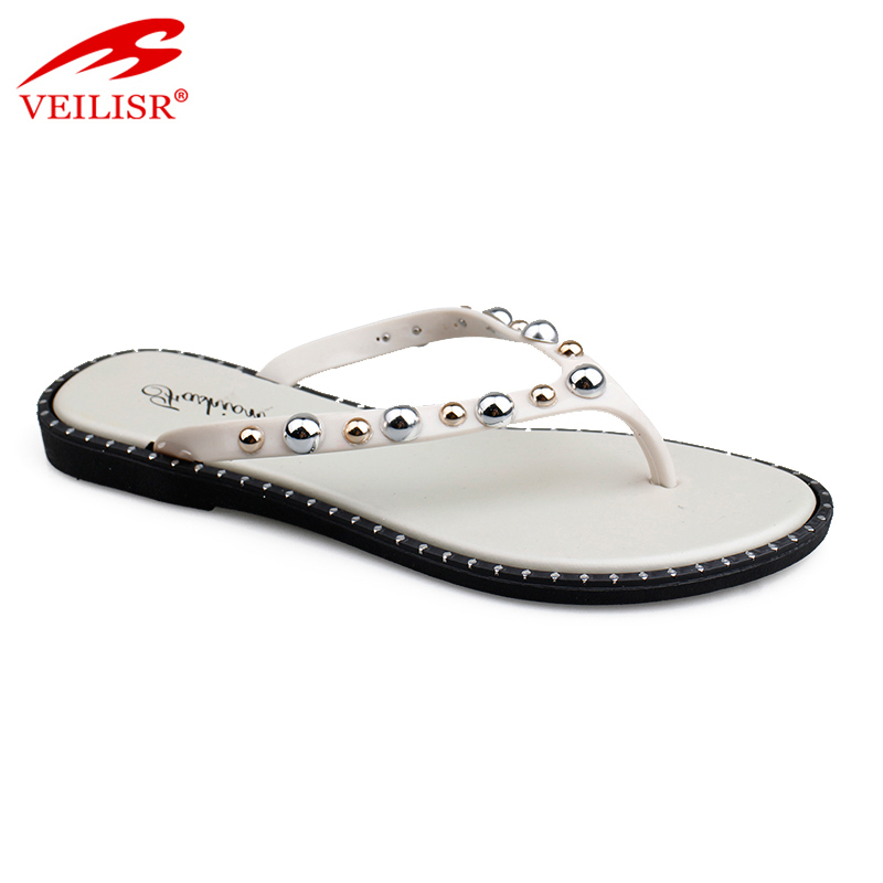 Outdoor beaded design ladies jelly PVC slippers women flip flops
