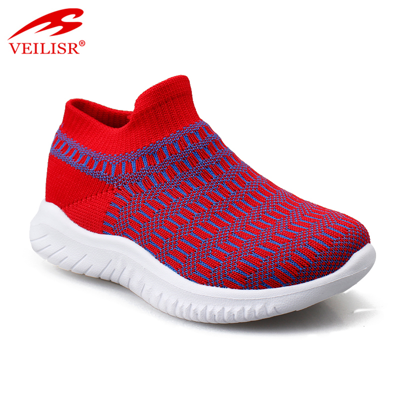 Most popular knit fabric light sport sneakers kids casual shoes