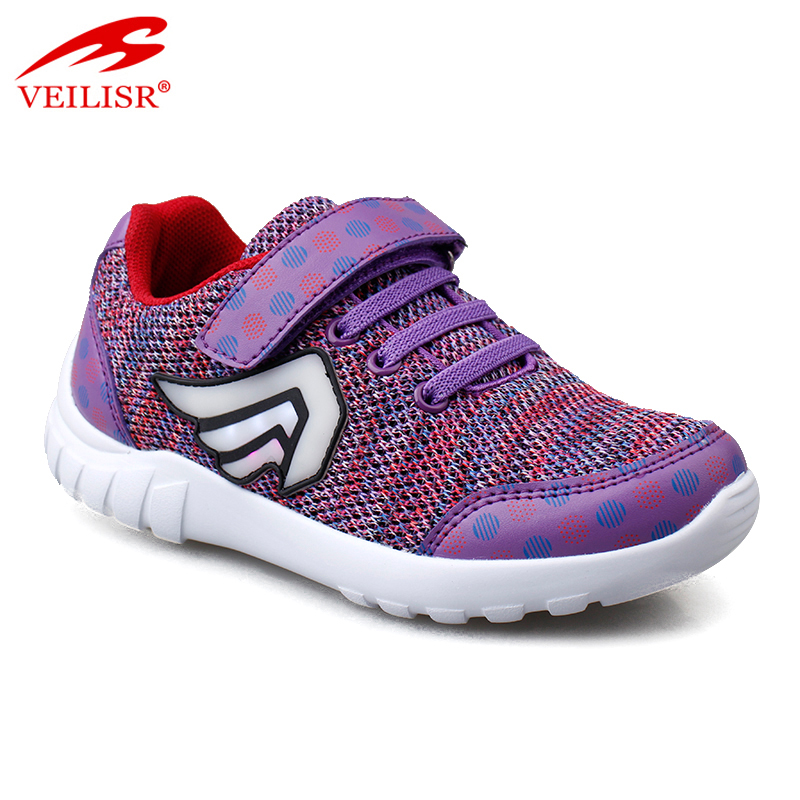 New design buckle design knit sneakers kids led light sport shoes