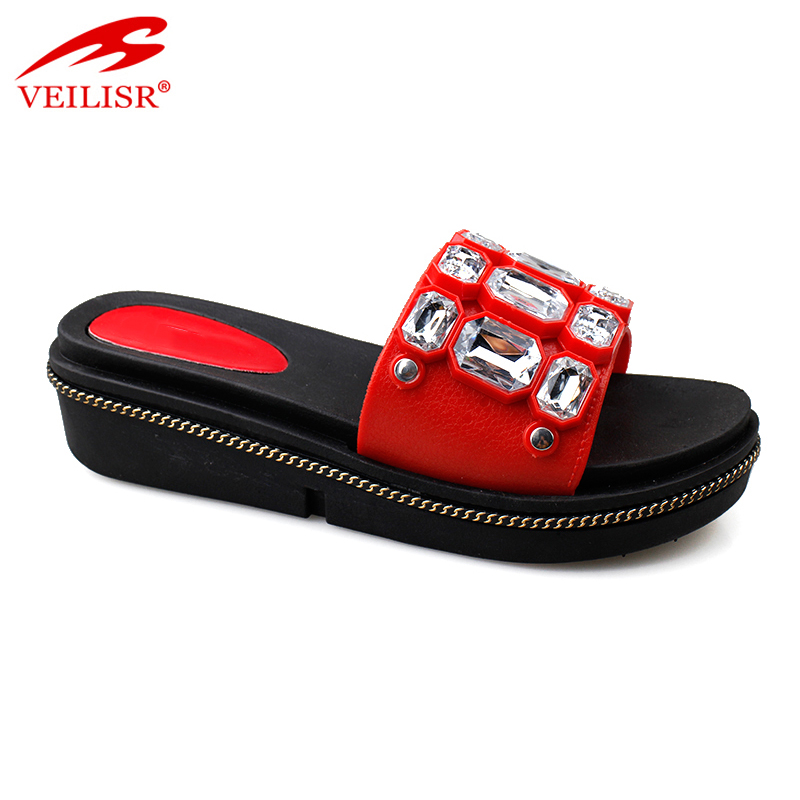 New beaded design PVC upper wedge slippers women slide sandals