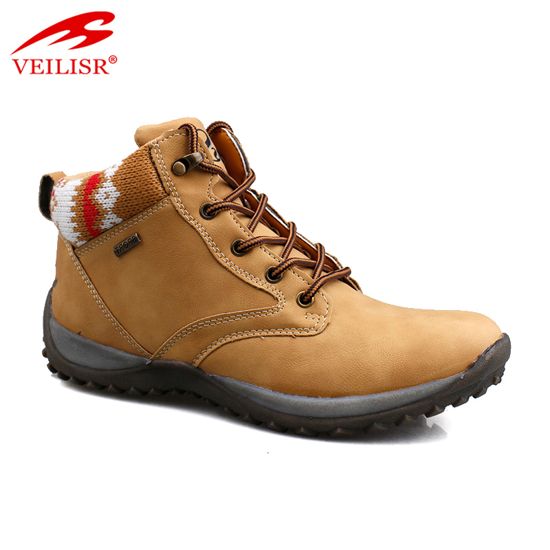 Outdoor faux leather ladies casual ankle shoes women winter boots