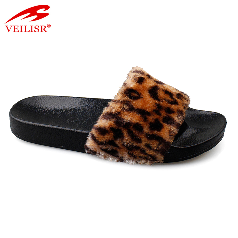 Wholesale design ladies warm plush PVC sole indoor women slippers