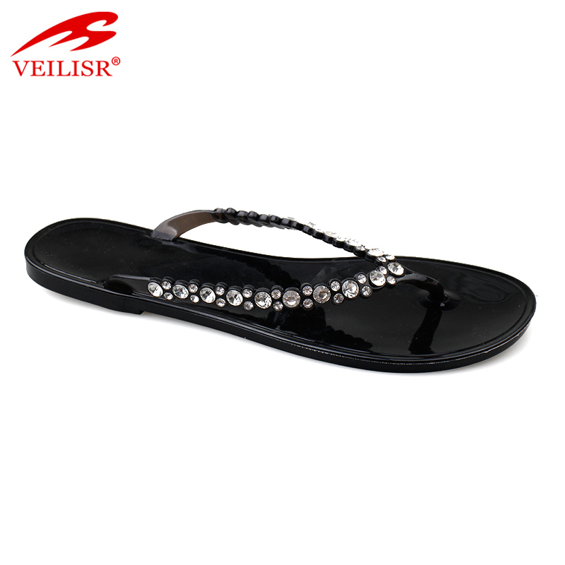 New beaded design ladies flat jelly slippers women flip flops