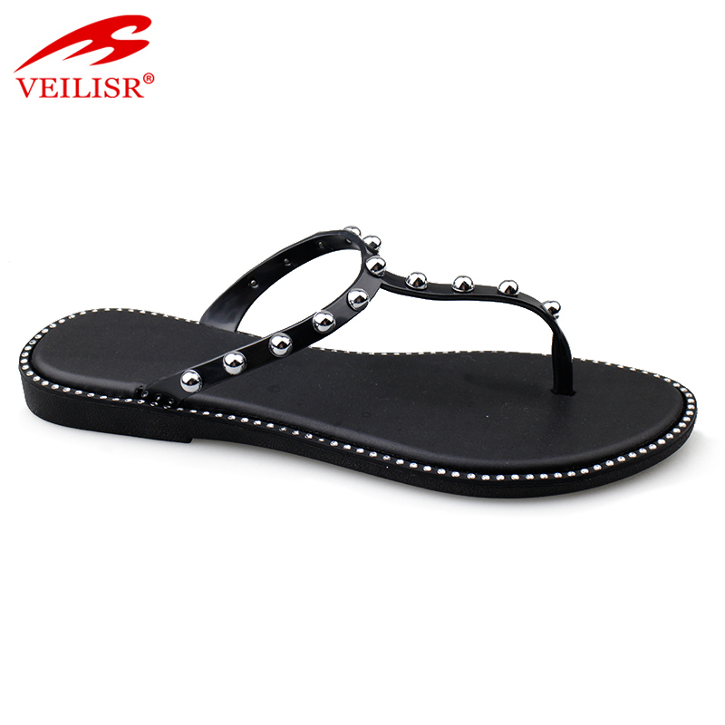 Outdoor beaded design PVC slippers jelly shoes women flip flops