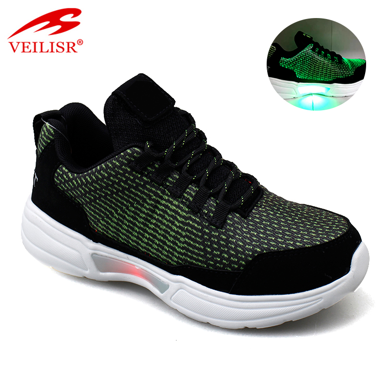 Zapatillas new fashion fabric men sneakers LED light up sport shoes