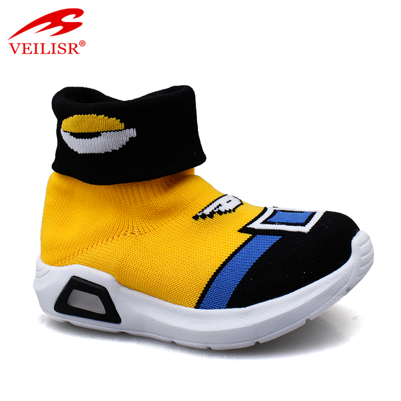 New knit fabric children casual sock sneakers kids LED light shoes