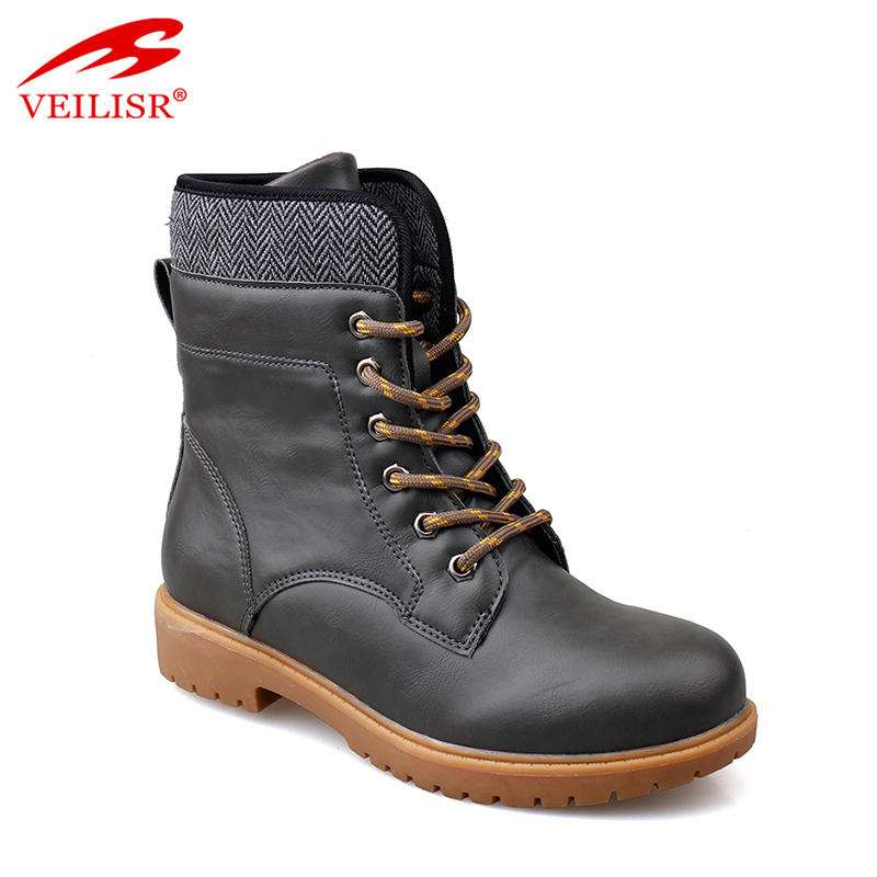 Faux leather army shoes waterproof hiking boots