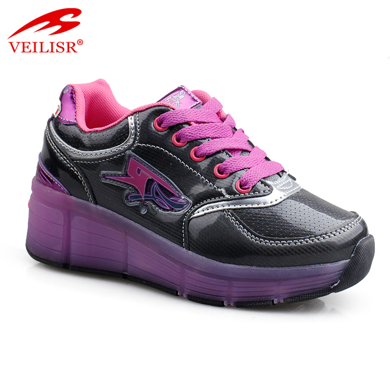 Outdoor fashion children LED light sneakers kids roller skate shoes