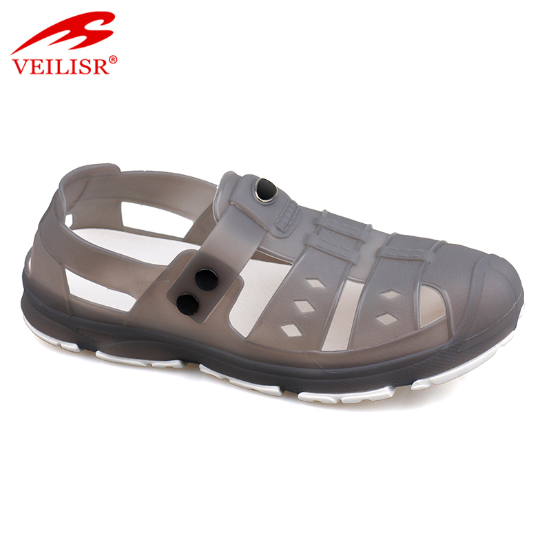 New design clear PVC clogs beach jelly shoes sport men sandals