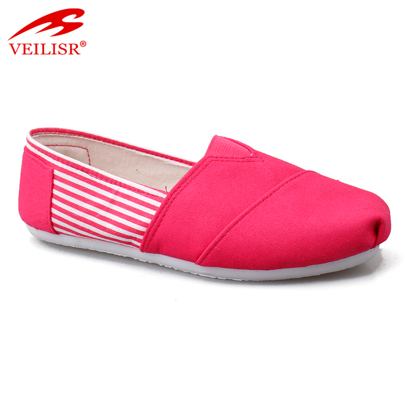 Outdoor ladies slip on flats casual canvas shoes for woman