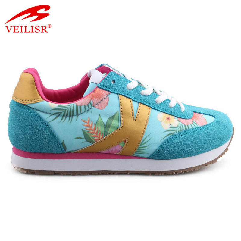 Custom printed fabric faux suede casual shoes women fashion sneakers Featured Image