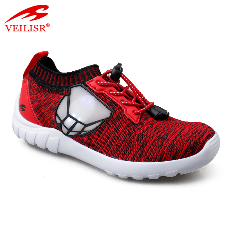 2020 Newest style China Factory Price OEM Acceptable Most popular knit fabric casual fashion sneakers kids led light shoes