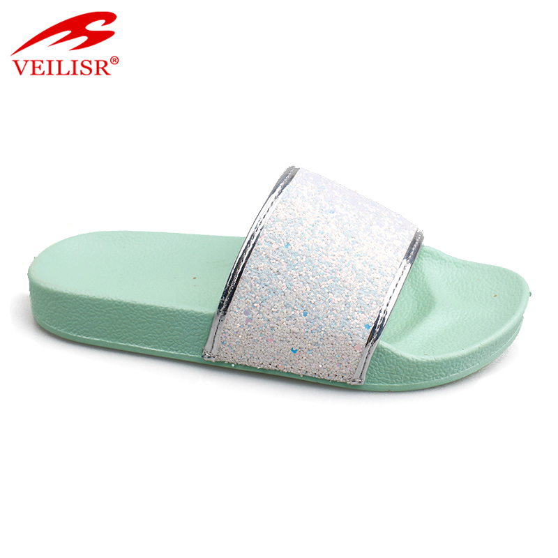 Outdoor summer glitter PU upper children slide sandals kids slippers Featured Image