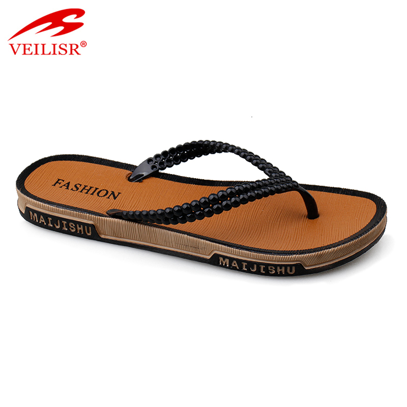 Wholesale outdoor summer beach ladies PVC slippers women flip flops