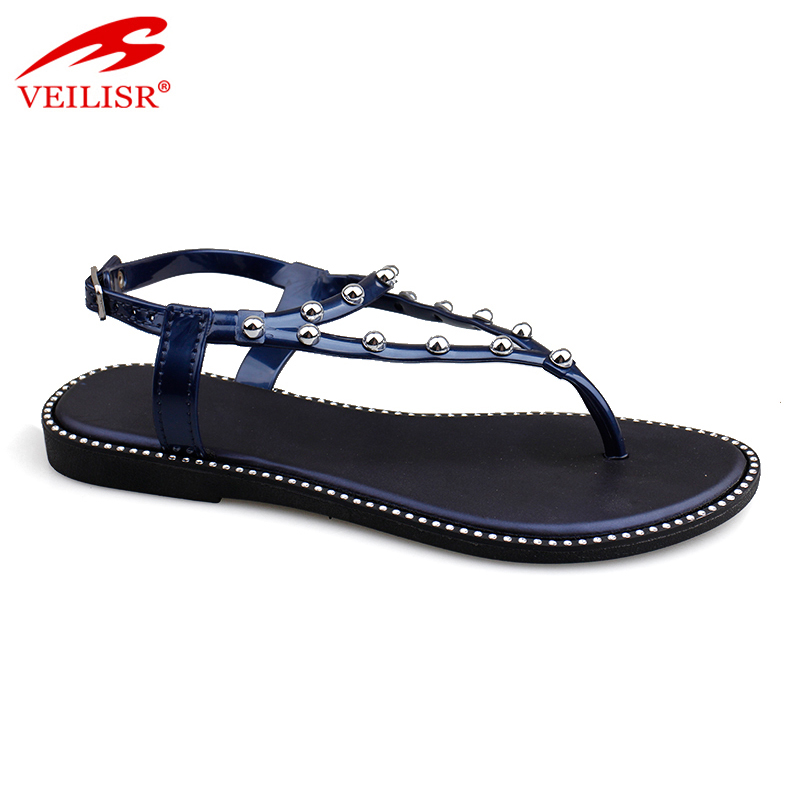 Outdoor beaded design ladies PVC footwear women flat sandals
