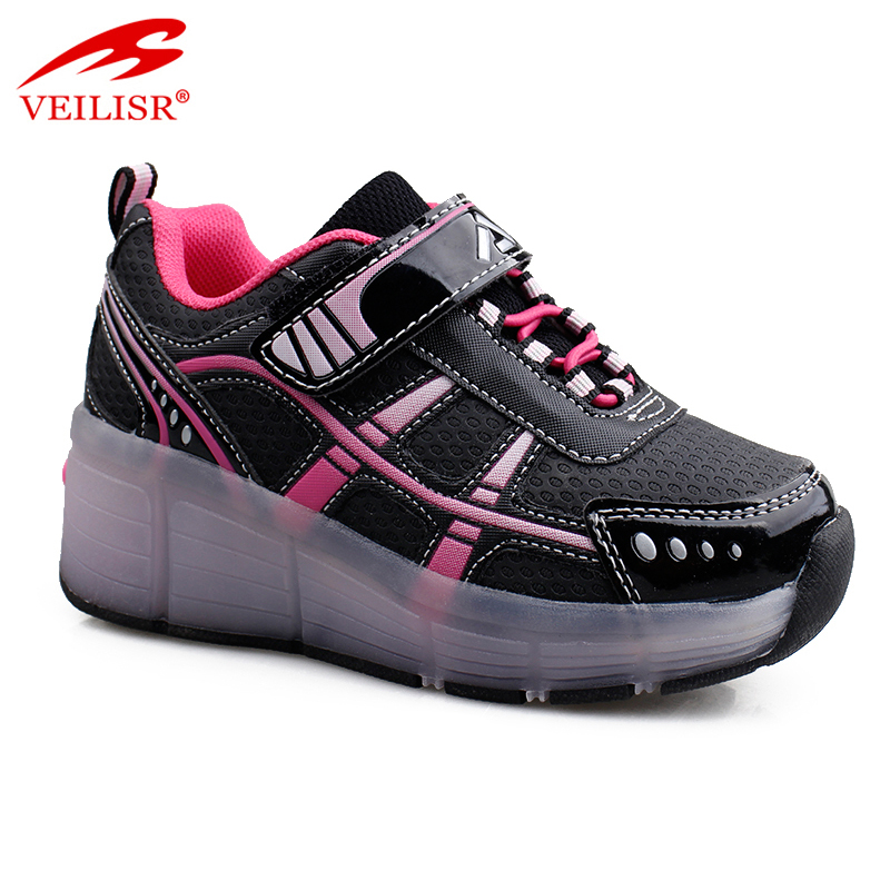 Outdoor fashion children LED light sneakers kids skate roller shoes