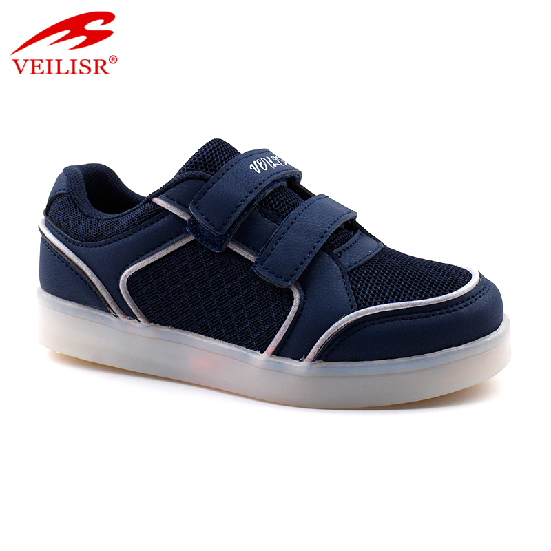 Outdoor PU upper children casual sneakers kids led light shoes