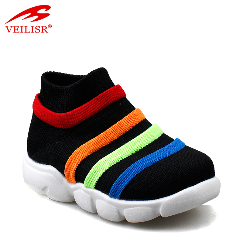 Outdoor knit fabric children sock sneakers kids casual shoes