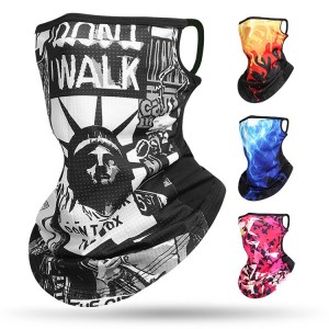 Men Women Bandana Summer Face Cover Hanging Ear Tube Scarf Ice Silk Neck Gaiter Breathable Bandana