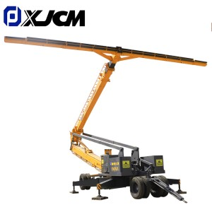 Self erecting lifting cable machine by towing device