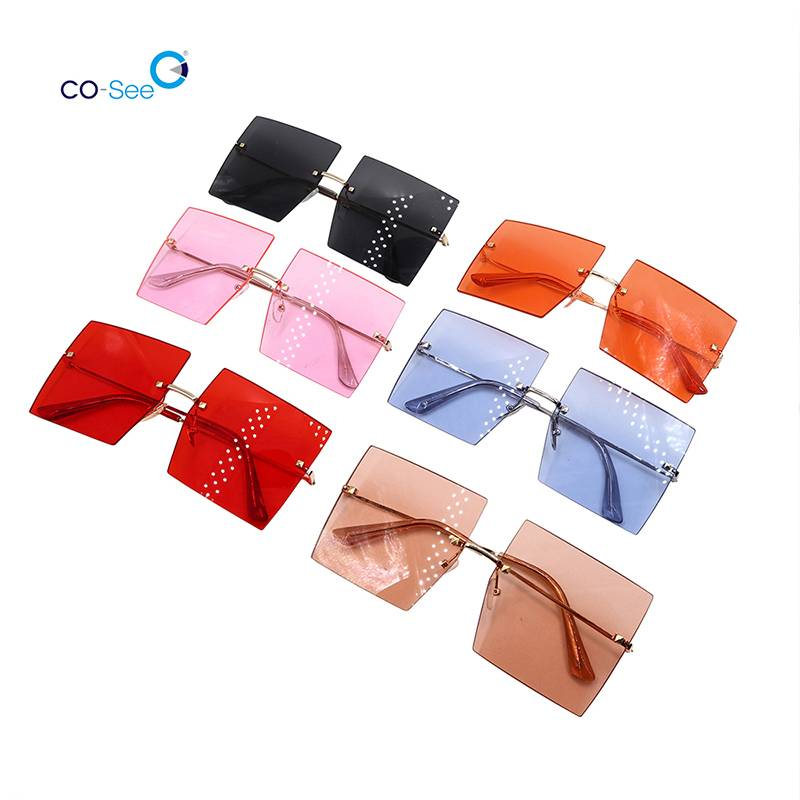 2020 Fashion Trendy Luxury Brand Metal Square Rimless Colorful Women Sunglasses Featured Image