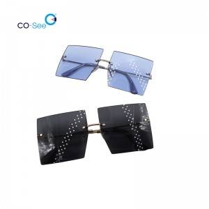 2020 Fashion Trendy Luxury Brand Metal Square Rimless Colorful Women Sunglasses